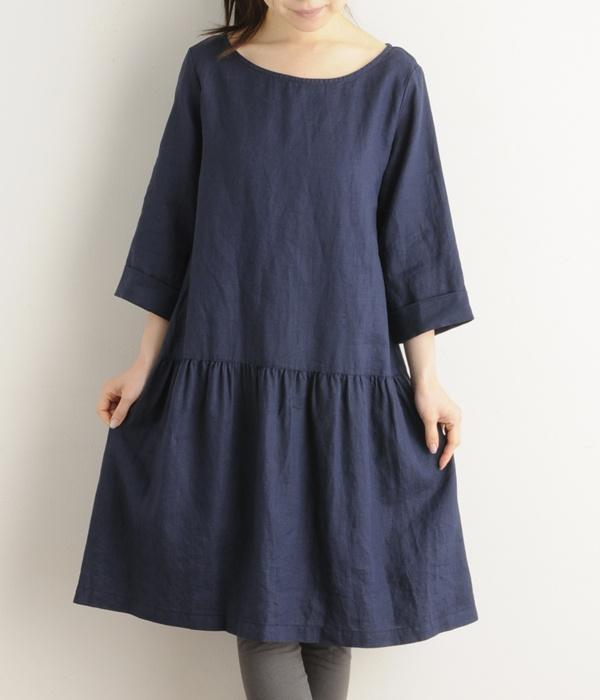 リネンキャンバスワンピース(D・ネイビー) NIMES  ナチュラル服や雑貨のファッション通販サイト ナチュラン