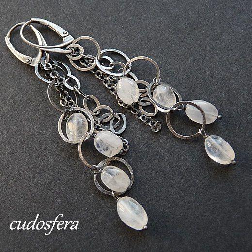 Kolczyki ze srebra, oraz z kamienia księżycowego. #silver #moon #wedding #slub