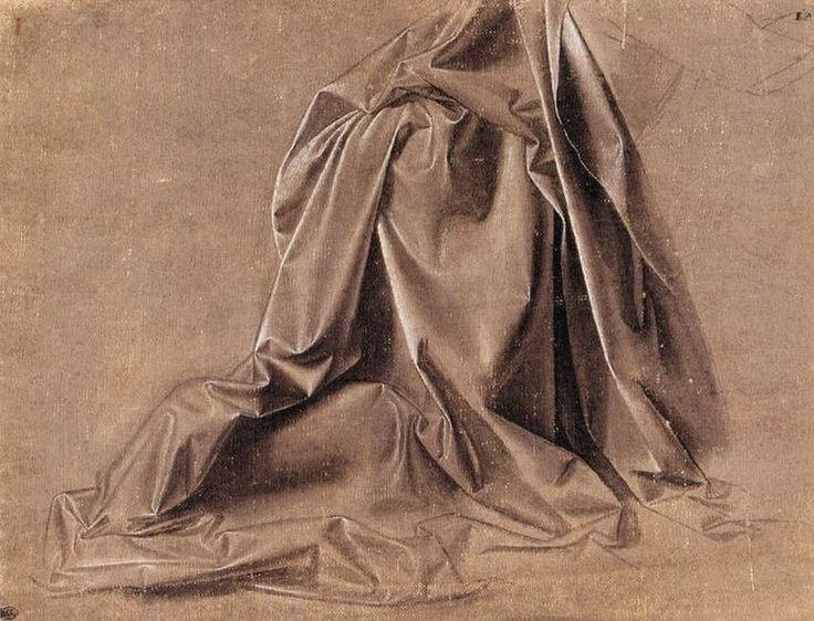 Leonardo da Vinci, Drapery study for a seated figure
