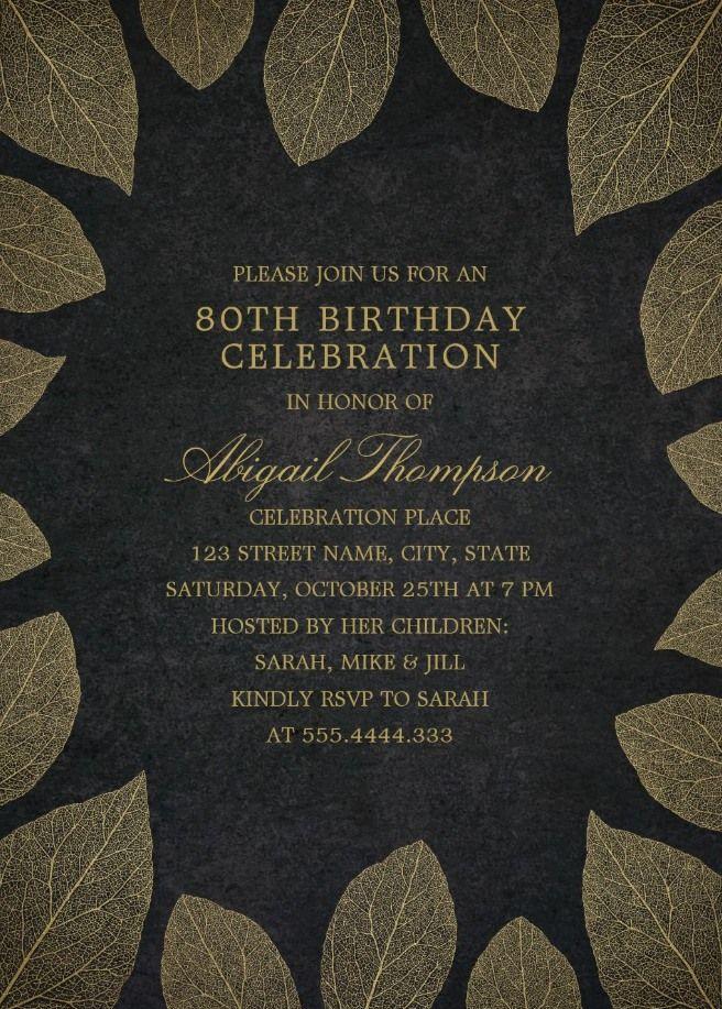 gold leaves 80th birthday invitations elegant frame templates