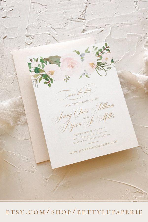 Blush Gold Wedding Save The Dates Floral Garden Wedding Invitation