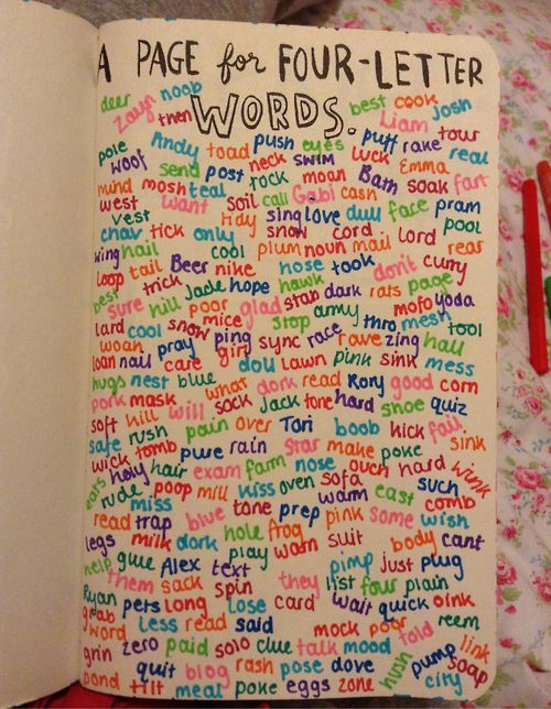 Wreck+This+Journal+Finished | New Wreck This Journal page! Words with 4 letters! Btw I made mistakes ...