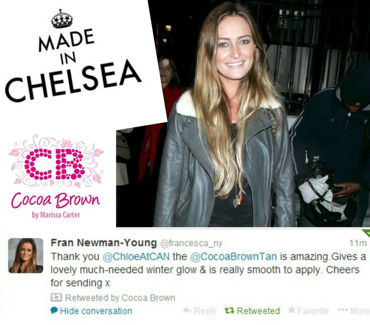 The stylish Fran from Made In Chelsea is a Cocoa Brown 1 HOUR TAN fan!!