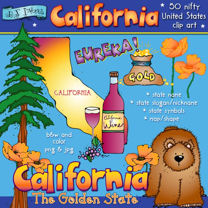 This set is full of California clip art smiles!  Celebrate the Golden State. :)  Each of our '50 Nifty United States' sets includes: the state name and slogan, local symbols & wildlife and the state map... all in black & white and color.   SAVE BIG when you get ALL 50 states on our 'Kidoodlez USA' collection!!!