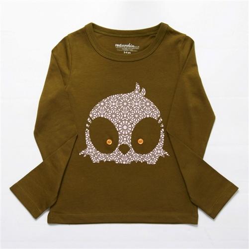 child's long-sleeved owl t-shirt
