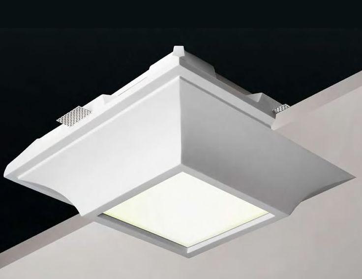 Plafón de techo de yeso tipo downlight cuadrado #decoracion #iluminacion #interiorismo #lamparas