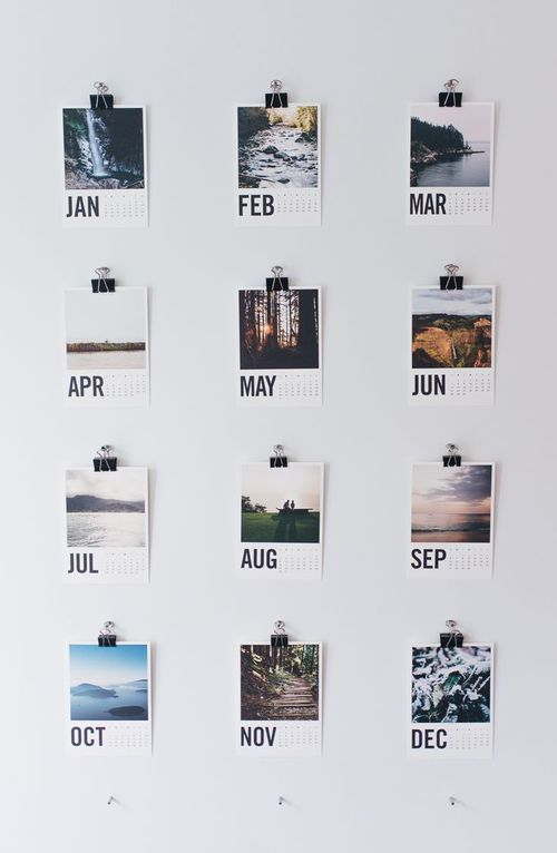 Good idea! You could take Polaroid photos each month and write the month on it! So tumblr and cool!