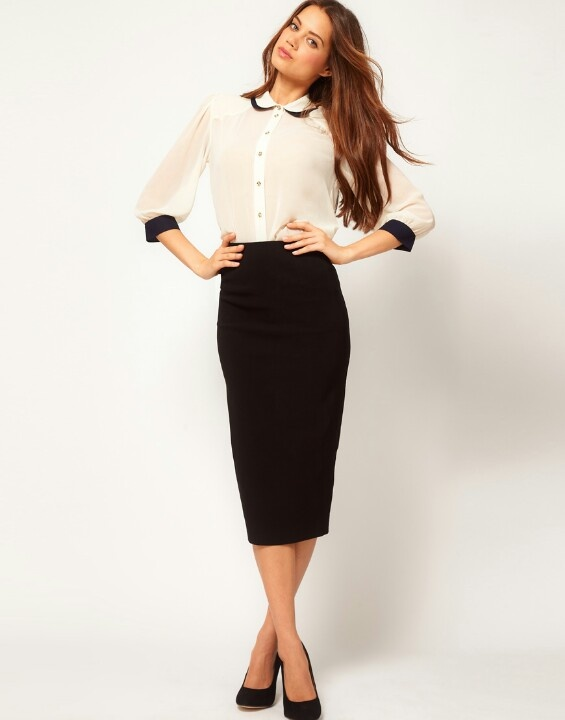 Blouse and long pencil skirt