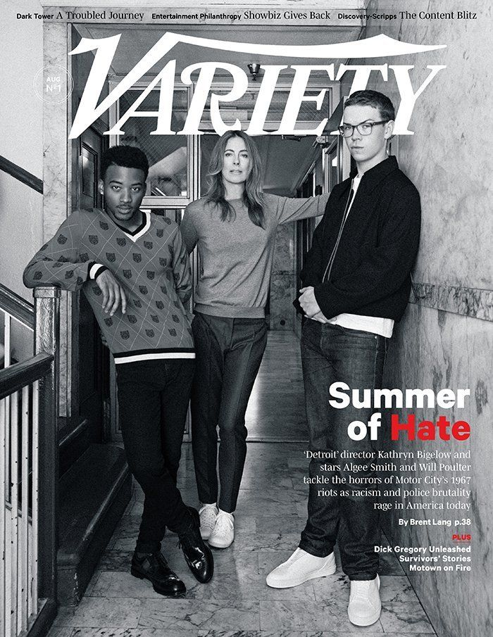 I always feel that the purpose of art is to agitate for change, but you can't change anything if you're not aware of it.  Director Kathryn Bigelow with actors Algee Smith and Will Poulter on the cover of Variety photographed by Jake Chessum.