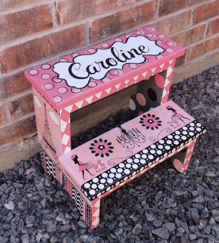 Kids Hand Painted Step Stool Custom Personalized Paris