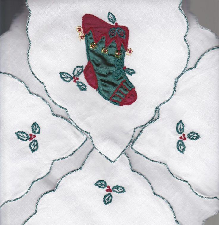 VICTORIAN GREEN APPLIQUE STOCKING BREAD BASKET COVER & BUN WARMER  SHOP NOW https://thelaceandlinensco.com/store/products/category/special-occasion  #thelaceandlinensco #pinterest #etsy #shopvintage #vintagedecor #weddings #lace #battenburg #antique #handembroidered #vintagedoily #vintagefinds #victorian #vintagegoods #vintagelinens #linens #vintagetablecoth #tablecloth #decor #cotton #bedding #cottage #home #1940s #curtains #shower #french #vintagecotton #diy #vintagebaby #christmas