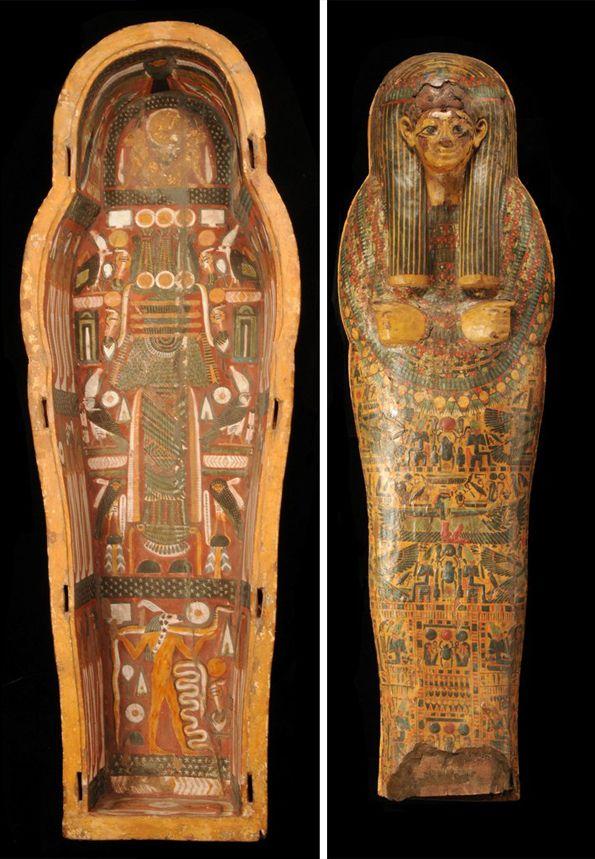 coffins of Nesy-ta-neb(et)-taoey (left) and Gaoetsesjen. By Rijksmuseum van Oudheden.