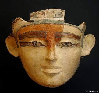 Stucco and painted plaster mummy mask, ca. 1750-1650 B.C., excavated at Mirgissa; Louvre, Paris, France.