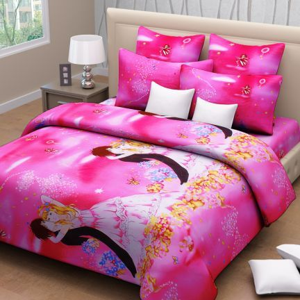 Lovely Sweet Dreams Kids Double Bed Sheet With Two Pillow Covers Pink U0026 Black,Home