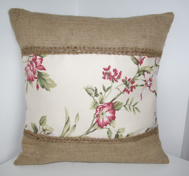 Red Flowers Hessian Jute Cushion Cover.   Anetta's Craft,- Folksy