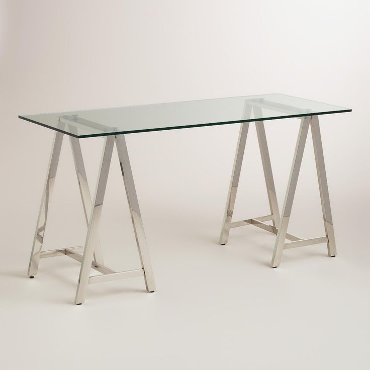 Glass and Chrome Colton Mix & Match Desk | World Market Very reasonable and nice quality. They have 15% off shipping. I love a glass desk as it really is visually unobstructive in a room.