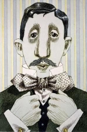 caricatura di Marcel Proust (su Pinzellades al món: Literatura i art: caricatures d'escriptors de Tullio Pericoli)
