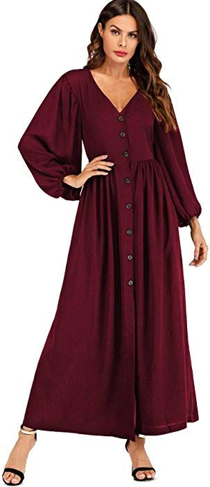 6f55c2d3858ff Milumia Women's Button up Long Sleeve V Neck Solid Flowy Maxi Dress Burgundy  X-Large at Amazon Women's Clothing store: