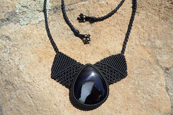 Check out this item in my Etsy shop https://www.etsy.com/listing/527873198/black-onyx-druzy-necklacemacrame
