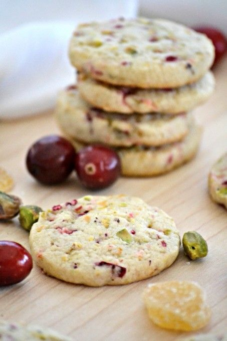A simple and easy sugar cookie filled with the flavors of fresh cranberries, crystallized ginger and chopped pistachios.