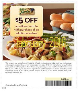 Free Printable Coupons Olive Garden Hot February 2016 Pinterest Gardens And