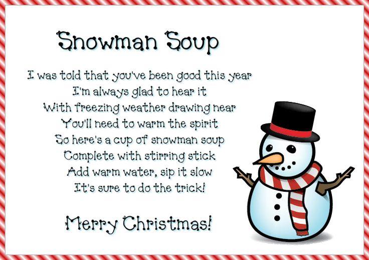 Snowman soup poem printable lables