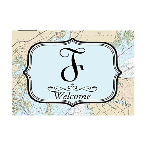 "Monogram Initial Letter F Nautical Welcome Door Mat 18""x26"" Unique Textile Printing http://www.amazon.com/dp/B0108JSJO6/ref=cm_sw_r_pi_dp_XwwJvb0PM8V21"