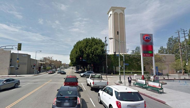 Cardiff Tower, a camouflaged oil drilling site on West Pico Boulevard with 40 active wells in the Beverly Hills Oil Field.