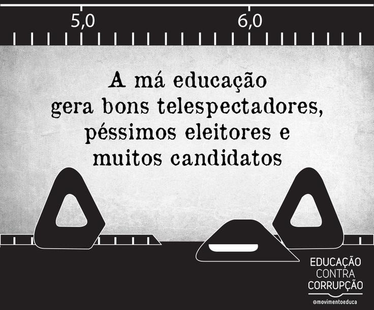 A má educação gera bons telespectadores, péssimos eleitores e muitos candidatos. - Educação contra corrupção!