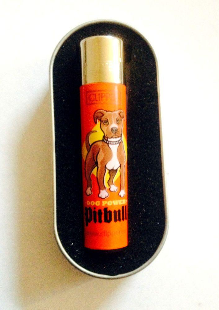 GENUINE CLIPPER  PITBULL DOG POWER PICTURE / DESIGN  CIGARETTE GAS LIGHTER BOXED