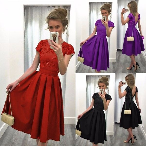 Summer Women Fashion Solid Color Stitching Dress Backless Midi Skirts Elegant Embroidery Lace Splicing Short Sleeves Formal Dress
