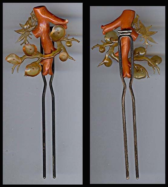 Japanese Antique Kanzashi Coral Amp Bekko Hair Ornament