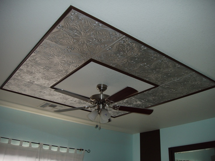 styrofoam decorative ceiling tile painted by customer in metallic silver and used as ceiling fan border - Decorative Ceiling Tiles