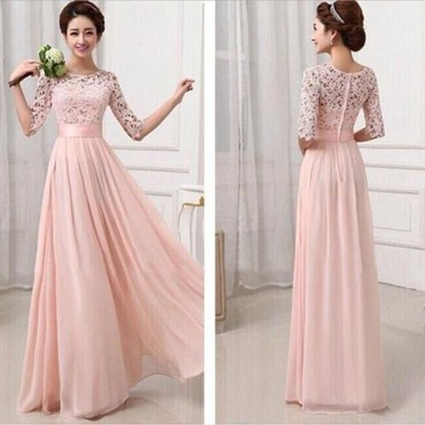 Most Popular Junior Half Sleeve Top Seen-Through Lace Prom Dress Blush Pink Long Bridesmaid Dresses, WG27 The long bridesmaiddresses are fully lined, 4 bones in the bodice, chest pad in the bust, lace up back or zipper back are all available.This dress could be custom made, there are no extra cost to do custom size and color.Description1, Material: chiffon, lace,pongee. 2, Color: picture color or other colors, there are many colors available, please contact us if you need fabric swatch. 3…