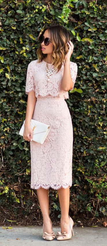 Two Piece Lace Pink Cocktail Dress Short Sleeves Midi Formal Gown #dress #macloth #gown #lacedress #wedding #partydress #eveningdress #cocktaildress #formalgown #formaldress