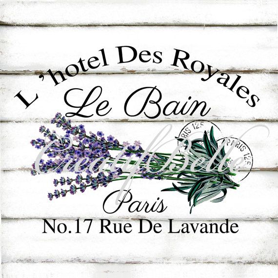 Le Bain Lavender Large Instant Digital Download Vintage French Lavande Herb Printable Fabric Transfer Shabby Chic Bathroom Art Image
