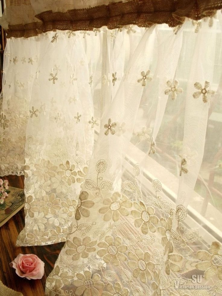 72 Shabby Rustic Chic Burlap Shower Curtain Lace Ruffles Flower French Country Burlap Shower