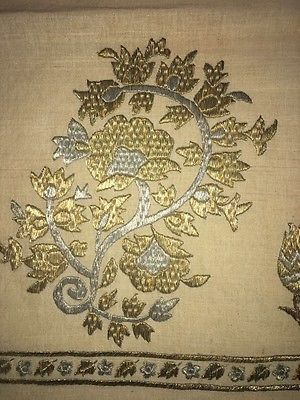 Antique Ottoman-Turkish Silk And Gold Metallic Hand Embroidery On Linen 3