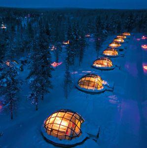 Sleep Under the Northern Lights in Finland.  Hotel Kakslauttanen