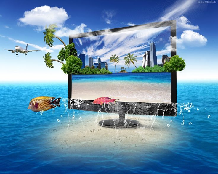 4D, Grafika, Morze, Monitor, Wyspa, Ryby, Palmy, Samolot