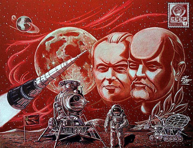 SERGEI KOROLEV; HISTORIA DE UN VISIONARIO de la Tierra a a Luna con Alexei Leonov el primer cosmonáuta en pisar la superficie de la Luna y Lenin por el 50 Aniversario de la Revolución Soviética.