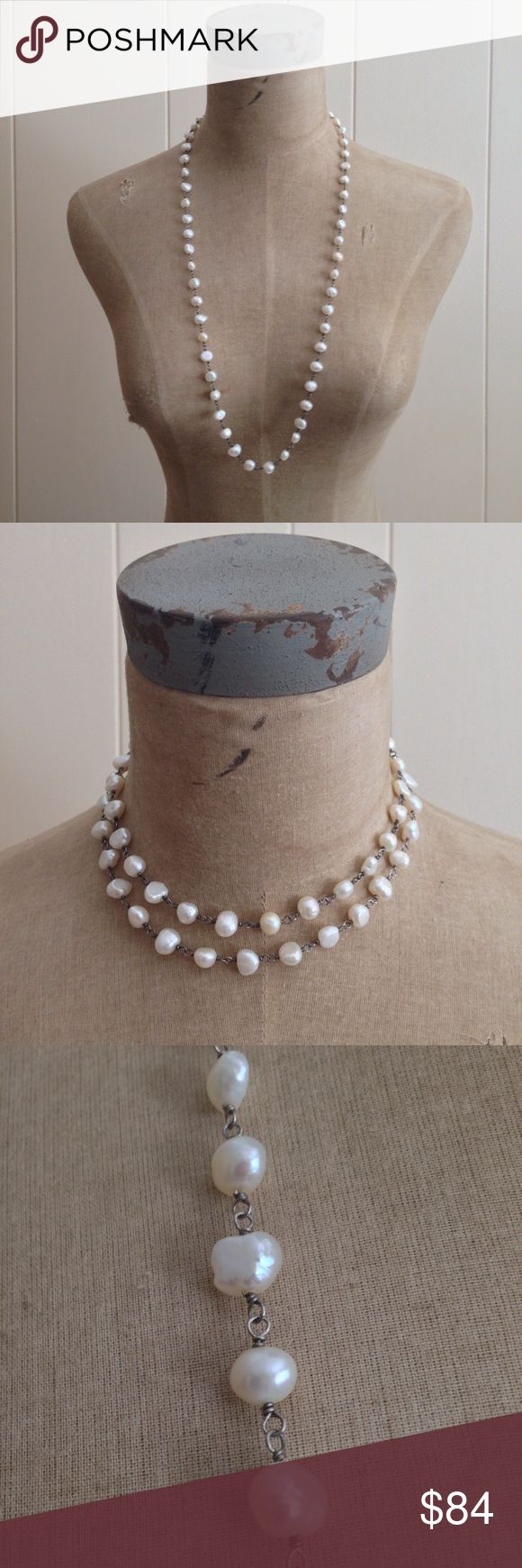 """NWOT [Silpada] Fresh Catch Pearl Necklace N1368 [Silpada] Fresh Catch Pearl Necklace N1368, NWOT  * Hand-twisted, oxidized Sterling Silver gives this Pearl beauty high style. * Necklace is approximately 32""""L. * Wear single strand or wrapped. * Lobster clasp  🚫Trades 🚫Modeling ✅Ask questions prior to purchasing. ✅Same day shipping if purchased by 2 pm ET Mon. - Fri. Silpada Jewelry Necklaces"""