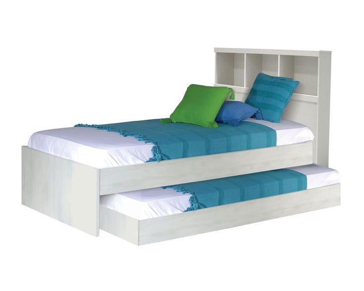 Cama canguro, consta de dos camas individuales en una y cabecera tipo librero.