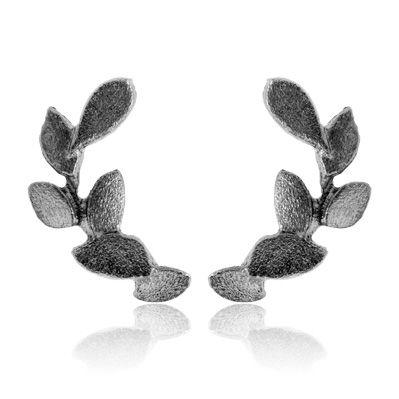 Leaves, sølvørestikker oxyderet 1/2 par, ørestikker fra Hellegerd | Dirks Design