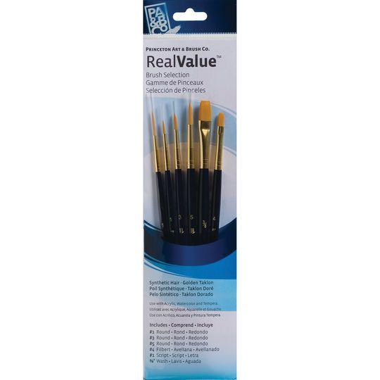 Princeton Art & Brush Co. RealValue™ Golden Taklon Brush Set With #1 Script