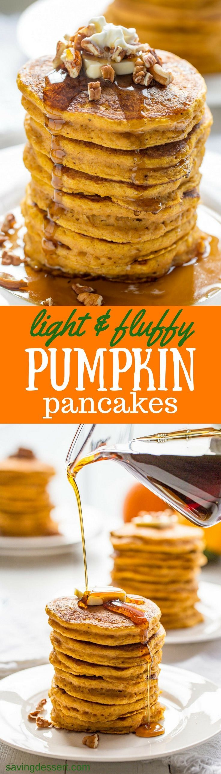The Best Pumpkin Pancakes - thick, light and super fluffy, our Pumpkin Pancakes are well spiced, lightly sweet and easy to make too!  savingdessert.com #pumpkin #pancakes #pumpkinpiespice