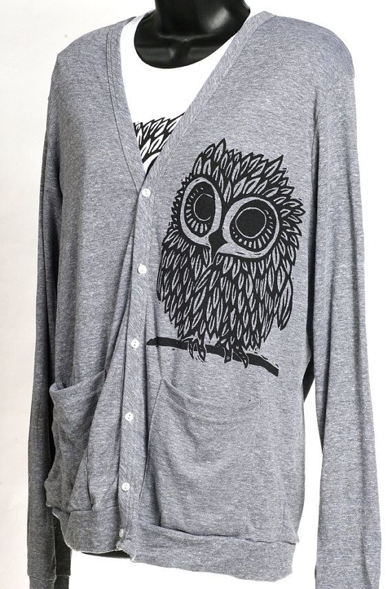 Owl on  Grey American Apparel Cardigan on Etsy, $40.00