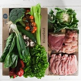 Organic large vegbox (less roots) plus meat | Riverford - order online, delivered for free £47.40. Enough for a family of 3 or 4 for a week