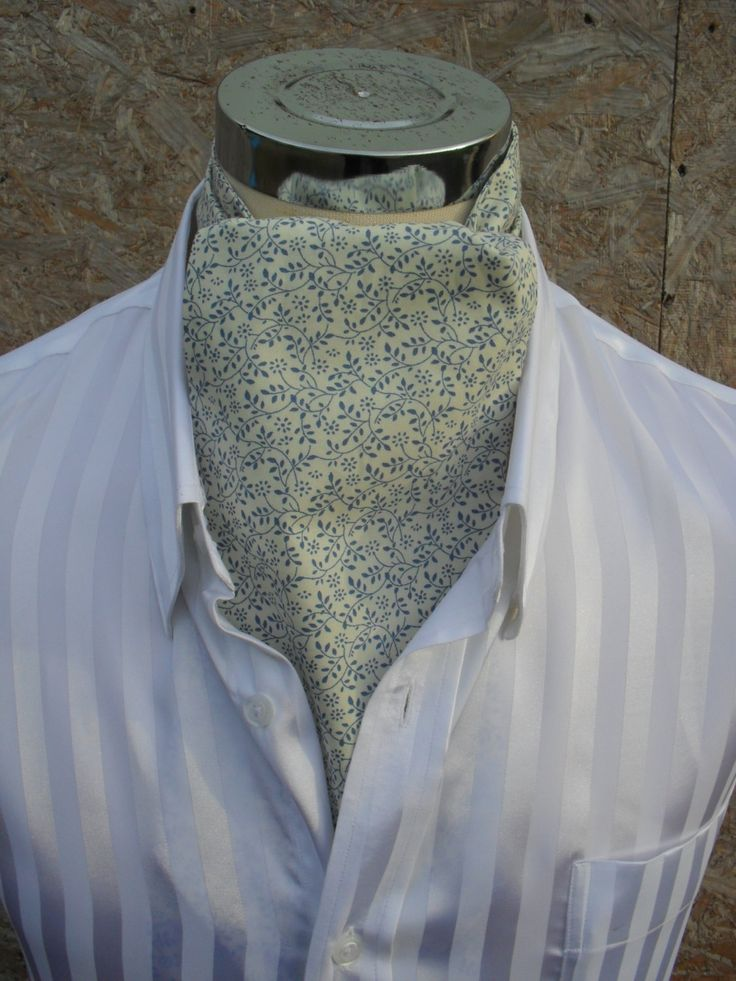 Cream Cravat with tiny blue leaves. Cream and blue cravat. Item No. LDC0267 by…