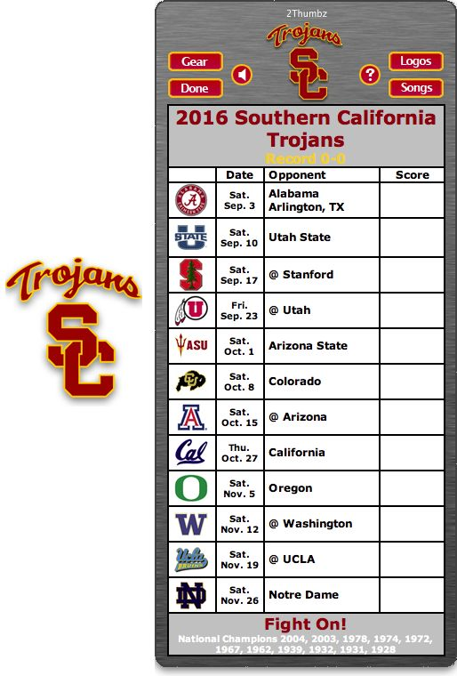 Get your 2016 USC Trojans Football Schedule Mac App for Mac OS X - Fight On! - National Champions 2004, 2003, 1978, 1974, 1972, 1967, 1962, 1939, 1932, 1931, 1928  http://2thumbzmac.com/teamPages/USC_Trojans.htm